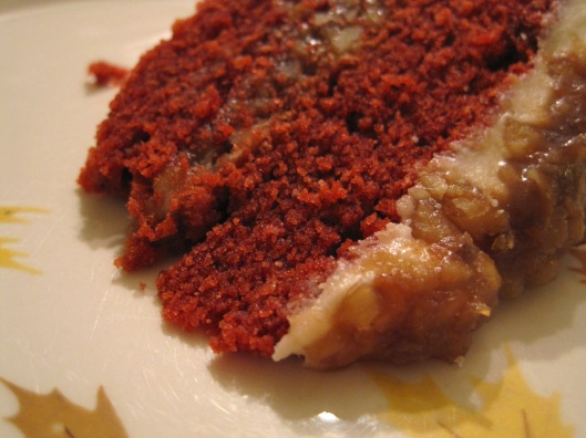 Slice of Red Velvet Rum Cake