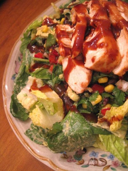Chicken BBQ Salad with avacado