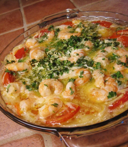 Tomato and Wine Baked Shrimp