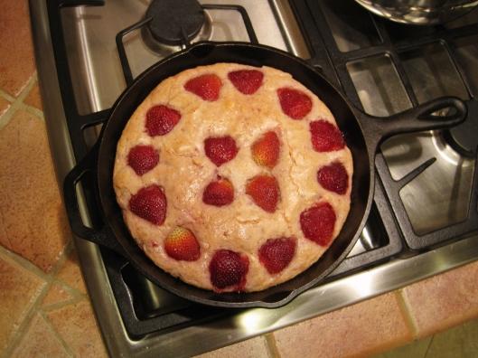 Strawberry Almond Buttermilk Skillet Cake