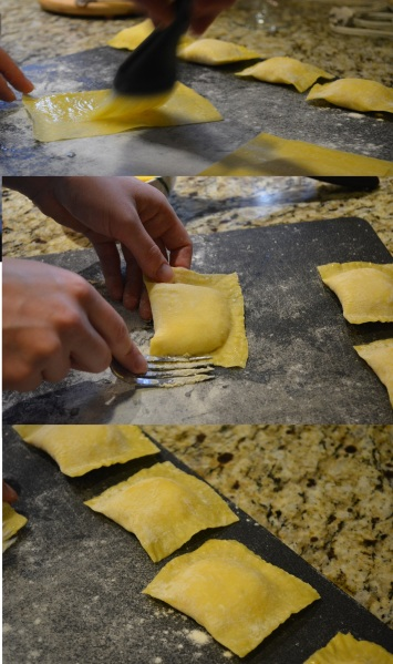 Building the Three Cheese ravioli