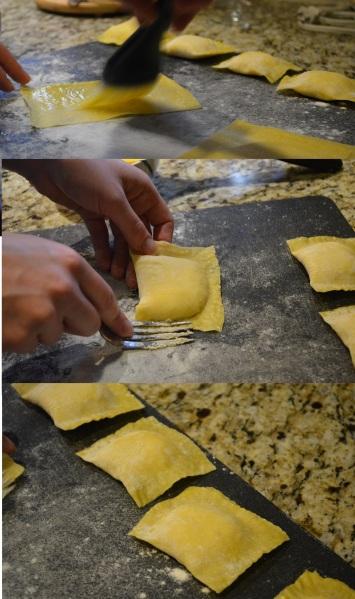 Building the Three Cheese ravioli