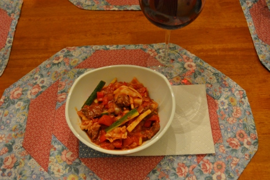 "Italian Sausage and ""Drunken"" Noodles"
