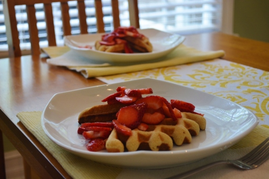 Sour Cream Pound Cake Waffles with Strawberries