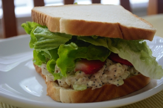 Dijon Poppy Seed Chicken Salad Sandwiches with Strawberries