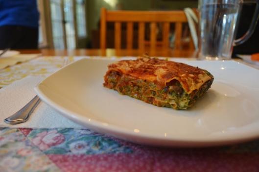 Mushroom Spinach Lasagna Slice