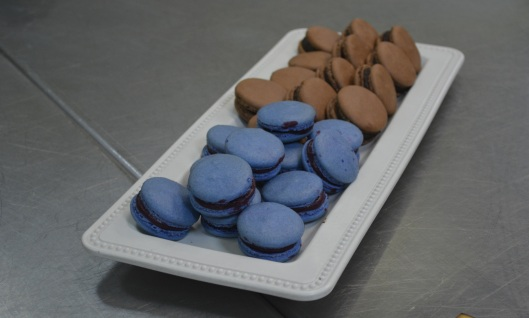 Black Currant and Chocolate Macarons