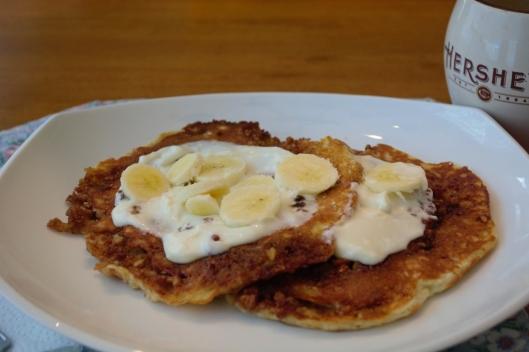 Banana Cinnamon Roll Pancakes
